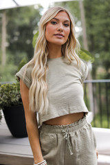 Olive - Model wearing a Knit Crop Top