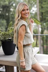 Knit Crop Top in Olive Side View