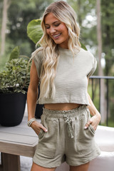 Knit Crop Top in Olive Front View