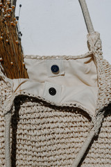 Close Up of a Straw Tote Bag