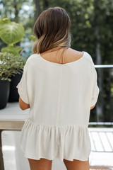 Peplum Top in Taupe Back View