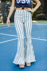 Striped Flare Jeans Front View