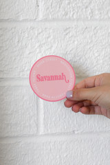 Pink - Flat Lay of a Savannah City Sticker on a white background