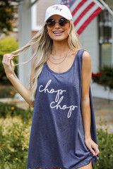 Navy - Chop Chop Graphic Tank from Dress Up