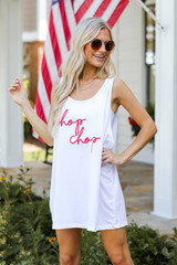 White - Dress Up model wearing the Chop Chop Graphic Tank