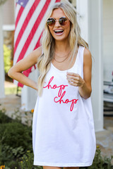 White - Model wearing the Chop Chop Graphic Tank