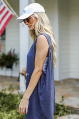 Chop Chop Graphic Tank in Navy Side View