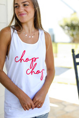 Chop Chop Graphic Tank in White Front View on model