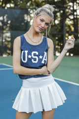 Navy - Dress Up model wearing the USA Star Graphic Tank