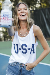 Model wearing the USA Star Graphic Tank in White