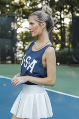 USA Star Graphic Tank in Navy Side View