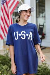 USA Star Graphic Tee Front View on model