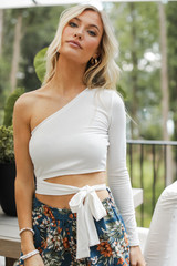 White - One-Shoulder Wrap Top from Dress Up
