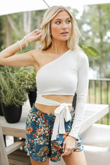 One-Shoulder Wrap Top Front View