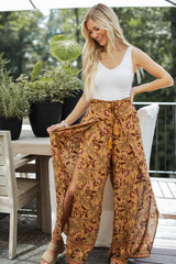 Mustard - Floral Wide Leg Pants from Dress Up