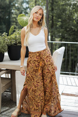 Floral Wide Leg Pants Front View on model