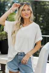 White - Model wearing a Ribbed Tee