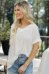 White - Dress Up model wearing a Ribbed Tee