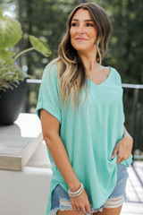 Mint - Ribbed Tee Front View