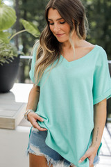 Mint - Ribbed Tee Front View on model