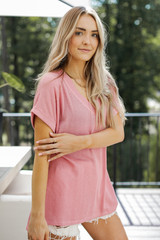 Ribbed Tee in Mauve Side View