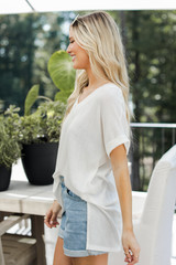Ribbed Tee in White Side View