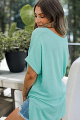 Ribbed Tee in Mint Back View