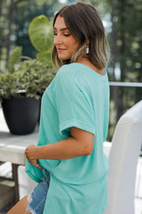 Ribbed Tee in Mint Side View