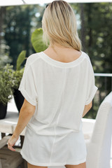 Ribbed Tee in White Back View