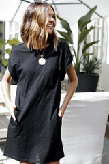 Black - Model wearing the Everyday T-Shirt Dress with a necklace