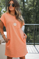 Orange - Model wearing an Everyday T-Shirt Dress with sunglasses