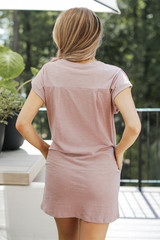 Everyday T-Shirt Dress in Mauve Back View