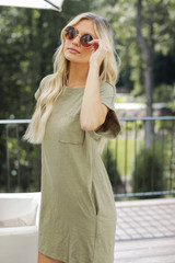 Everyday T-Shirt Dress in Olive Side View