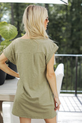 Everyday T-Shirt Dress in Olive Back View