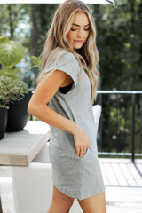 Everyday T-Shirt Dress in Heather Grey Side View
