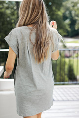 Everyday T-Shirt Dress in Heather Grey Back View