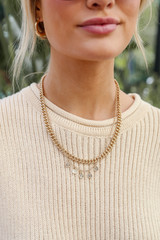 Gold Layered Necklace on model