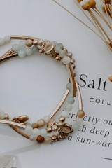 Close Up of a Beaded Bracelet Set in Mint