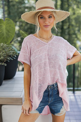 Pink - Model wearing a Striped Top