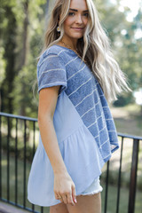 Striped Top in Blue Side View