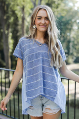 Striped Top in Blue Front View