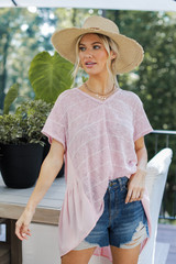 Striped Top in Pink Front View