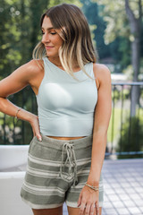 Mint - Seamless High Neck Tank Front View