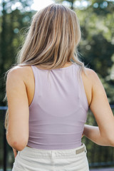 Seamless High Neck Tank in Lavender Back View