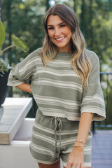 Olive - Striped Knit Shorts from Dress Up