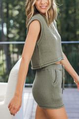 Knit Shorts in Olive Side View