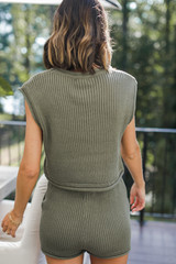 Knit Shorts in Olive Back View