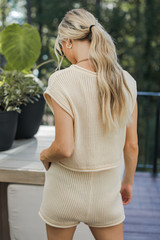 Knit Shorts in Ivory Back View