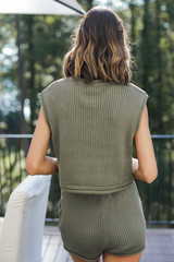 Knit Top in Olive Back View