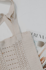 Ivory - Crochet Knit Tote Bag from Dress Up